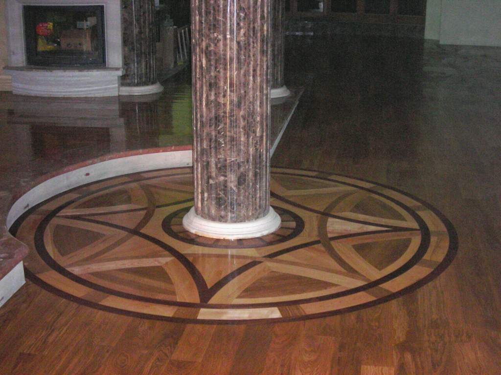 Hardwood flooring detail, dark stain